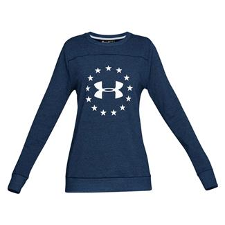 Under Armour Freedom Threadborne Crew Long Sleeve T-Shirt Blackout Navy / White
