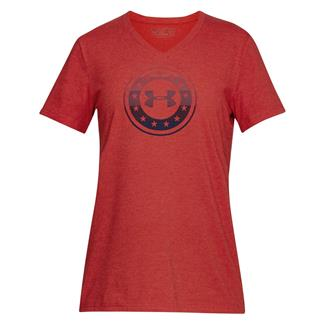 Under Armour Freedom Circle V Neck T-Shirt Red Medium Heather / Red