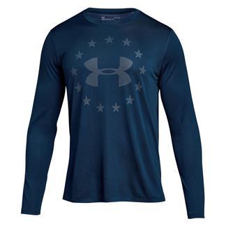 Under Armour Freedom Logo Jacquard Long Sleeve T-Shirt Blackout Navy / White
