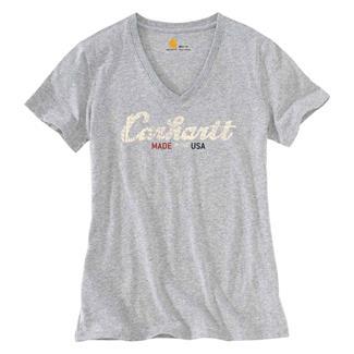 Carhartt Lubbock Graphic Script Logo T-Shirt Heather Gray