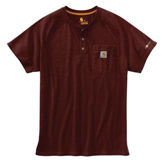 Carhartt Force Delmont Henley Red Brown Heather