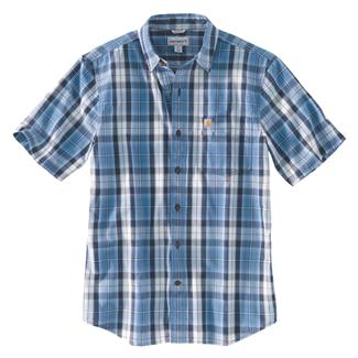 Carhartt Essential Plaid Open Collar T-Shirt Federal Blue