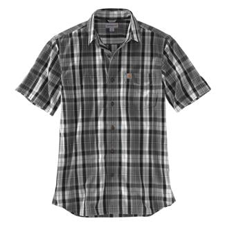 Carhartt Essential Plaid Open Collar T-Shirt Gravel