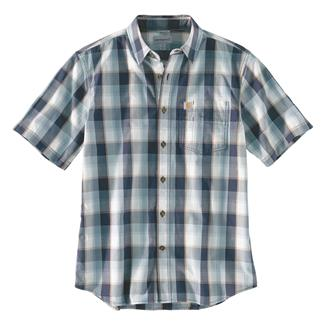 Carhartt Essential Plaid Open Collar T-Shirt Navy