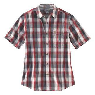 Carhartt Essential Plaid Open Collar T-Shirt Dark Crimson