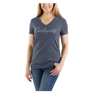 Carhartt Lockhart Graphic Script Logo T-Shirt Dark Indigo