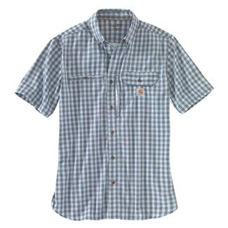 Carhartt Force Ridgefield Plaid Shirt Steel Blue