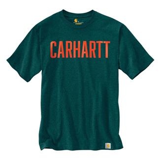 Carhartt Workwear Graphic Block Logo T-Shirt Hunter Green Heather