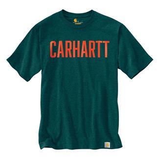 Carhartt Workwear Graphic Block Logo T-Shirt Hunter Green Heather