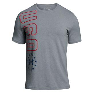 Under Armour Freedom USA Vertical T-Shirt Steel Light Heather / Red