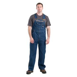 Berne Workwear Original Unlined Washed Denim Bib Overalls Stone Wash Dark