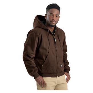 Berne Workwear Original Washed Hooded Jacket - Quilt Lined Bark