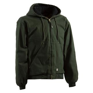 Berne Workwear Original Washed Hooded Jacket - Quilt Lined Moss
