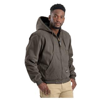 Berne Workwear Original Washed Hooded Jacket - Quilt Lined Olive Duck