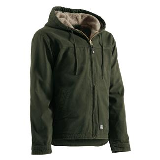 Berne Workwear Washed Hooded Work Coat Moss