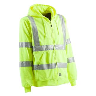 Berne Workwear Hi-Vis Type R Class 3 Lined Hooded Sweatshirt Yellow