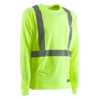 Berne Workwear Hi-Vis Type R Class 2 Long Sleeve Pocket T-Shirt Yellow