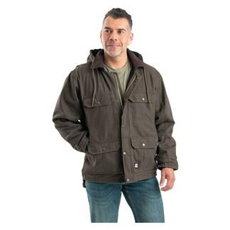Berne Workwear Washed Contractor Coat Olive Duck