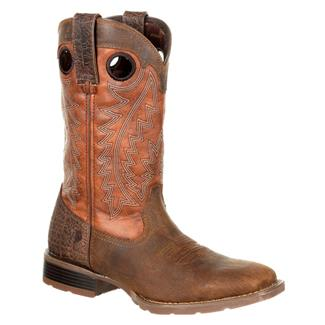 "Durango 12"" Mustang Pull-On Western Chocolate Brown / Burnt Orange"