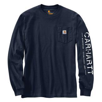 Carhartt Workwear Logo Sleeve Graphic Long Sleeve T-Shirt Navy