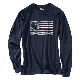 Carhartt Lubbock Logo Flag Graphic Long Sleeve T-Shirt Navy