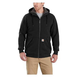 Carhartt Rain Defender Rockland Sherpa Lined Hooded Sweatshirt Black