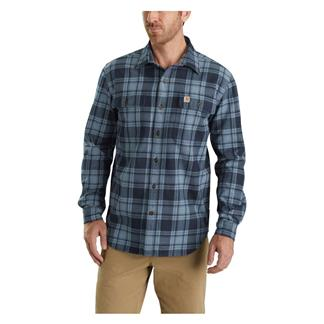 Carhartt Hubbard Plaid Shirt Steel Blue