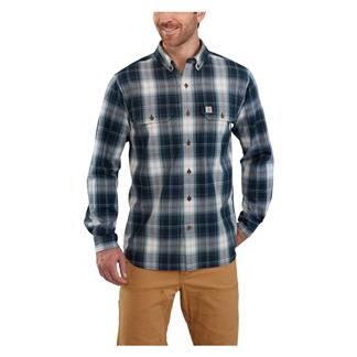Carhartt Fort Plaid Long Sleeve Shirt Navy