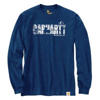 Carhartt Workwear Dog Graphic Long Sleeve T-Shirt Dark Cobalt Blue Heather