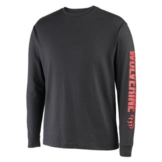 Wolverine Long Sleeve Graphic Solid Sleeve Logo T-Shirt Black / Red