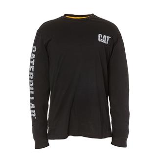 CAT Custom Banner Long Sleeve T-Shirt Black / Alloy Plate