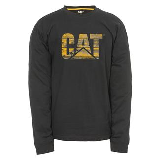 CAT Long Sleeve Custom Logo T-Shirt Black / Distressed Wood