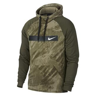 NIKE Therma Fleece Training Pullover Hoodie Olive Canvas / White