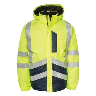 CAT Hi-Vis Waterproof Jacket Hi-Vis Yellow / Navy