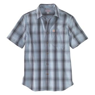 Carhartt Essential Plaid Open Collar T-Shirt Dusty Blue