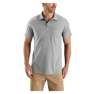 Carhartt Force Cotton Delmont Pocket Polo Heather Gray