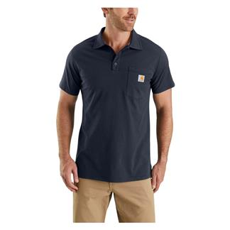 Carhartt Force Cotton Delmont Pocket Polo Navy