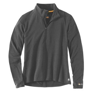 Carhartt Force Delmont Quarter Zip Shirt Black Heather