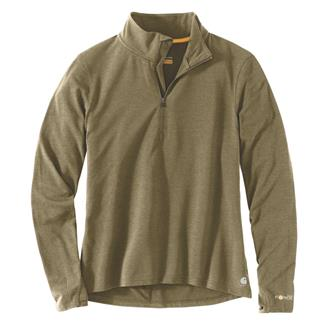 Carhartt Force Delmont Quarter Zip Shirt Military Olive Heather
