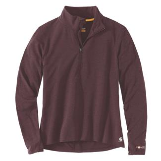 Carhartt Force Delmont Quarter Zip Shirt Fudge Heather