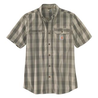 Carhartt Force Ridgefield Plaid Shirt Burnt Olive