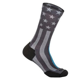 5.11 Sock And Awe Thin Blue Line Crew Socks Black