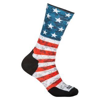 5.11 Sock And Awe American Flag Crew Socks Red
