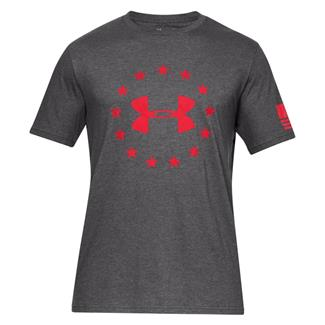 Under Armour Freedom Logo Cotton T-Shirt Charcoal Medium Heather / Red