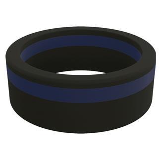 Qalo Thin Blue Line Pinstripe Silicone Ring