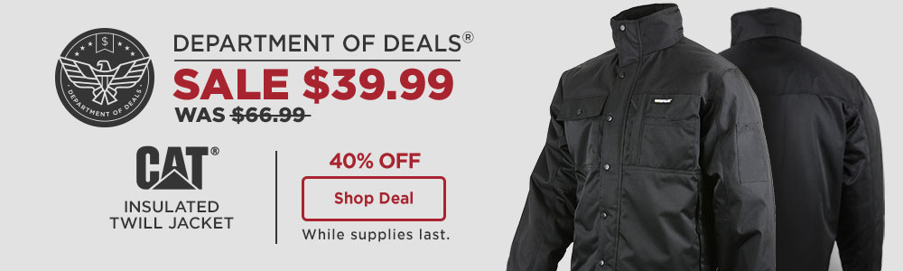 40 Percent Off CAT Insulated Twill Jacket